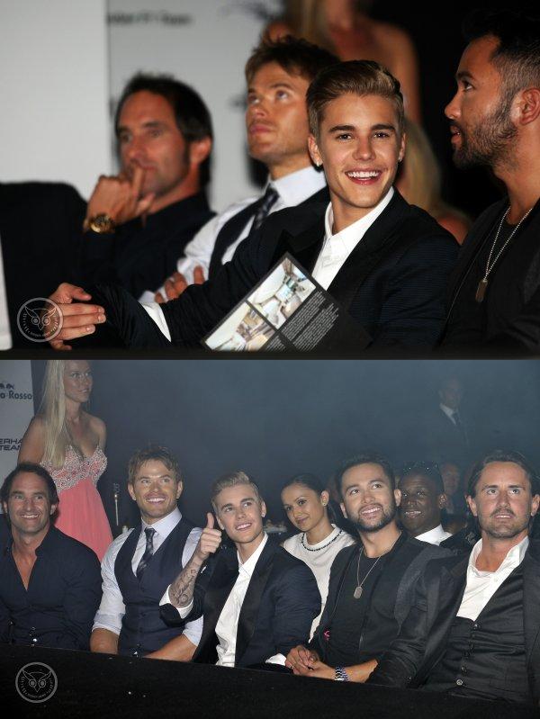 Nuit du 23 au 24 Mai 2014 - Monte Carlo (Monaco) : Justin et son coiffeur au Amber Lounge Fashion Show
