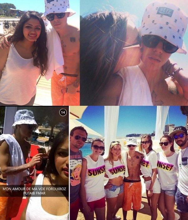 24 Mai 2014 - Monte Carlo : Justin va rejoindre un yacht pour voir le  Grand Prix de Formule 1 + pose avec les fans