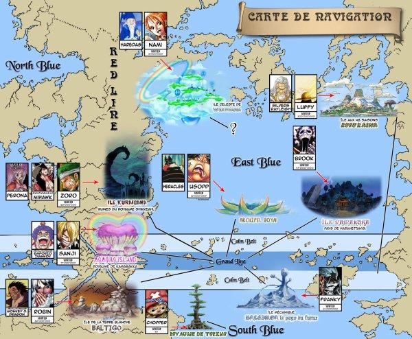 Voici La Carte De Navigation Ou Les Mugiwara Ce Sont entrainer Pendant Les 2 Ans. Qu'en Pensse Tu Il Etais Pas si loin les un des Autres Enfaite Non =D Esqu'elle est Bien Faite Je Veut votre Avis =') Heha !