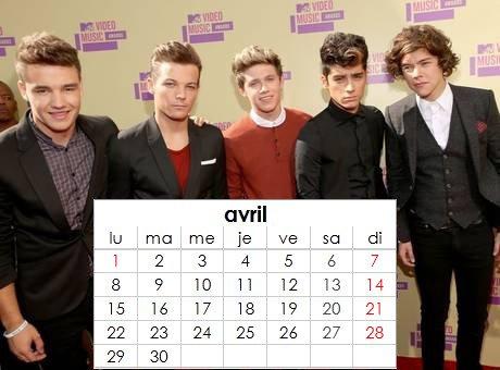Calendrier One Direction personnalisé à imprimer.