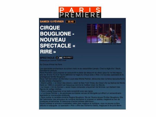 CE SOIR A NE PAS OUBLIER: CIRQUE D'HIVER BOUGLIONE EN DIRECT DE PARIS