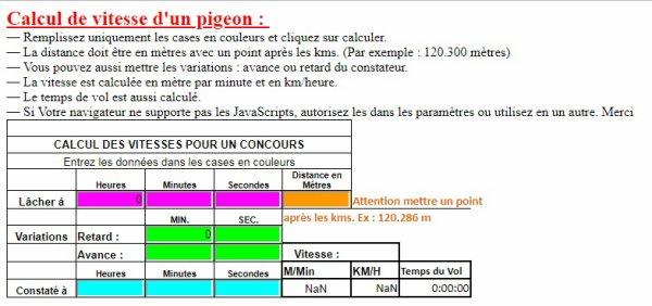 Calculer la vitesse de vol de votre pigeon