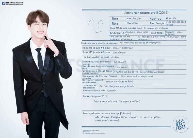 Jin écrit son profil