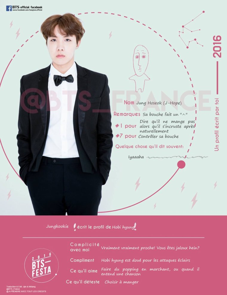 Jungkook écrit le profil de J-Hope