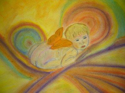 bébé papillon...pastel et fusain