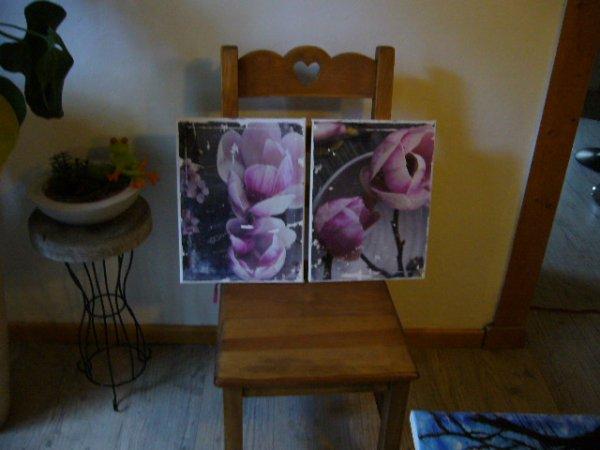Diptyque florale sur toile ...2 fois 30/40 cm