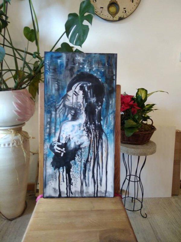 """Peinture 40/65 cm """"sensuelle ment"""""""