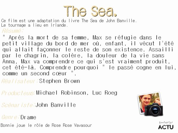 "BONNIE AU 70e OXFAM. VIDEO, DON D'UNE PAIRE DE CHAUSSURE, PHOTOS TWITTER, FILM ""THE SEA""."