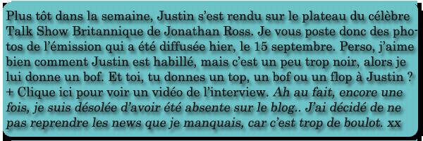 16/09 . Jonathan Ross Show
