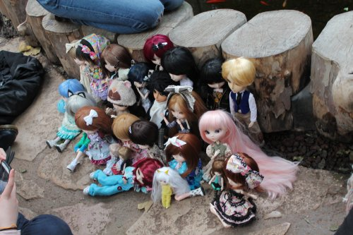 RP au Parc de la tête d'or avec Mlle-Lullaby-chan, Selena-pullip, Pullip-merveille, Sucre-Doll et Bunch-of-pullip.