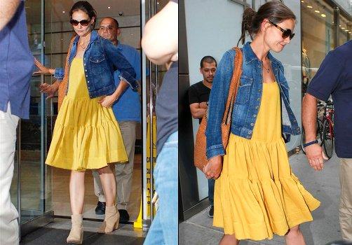 0d20f89b2fc7 La petite robe jaune de Katie Holmes. - News-Fashion