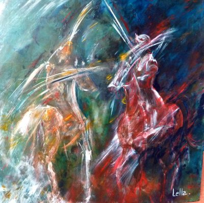 Chevaux Jaune et Rouge 80 x 80
