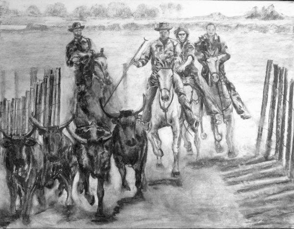 Cavaliers Fusain sur papier