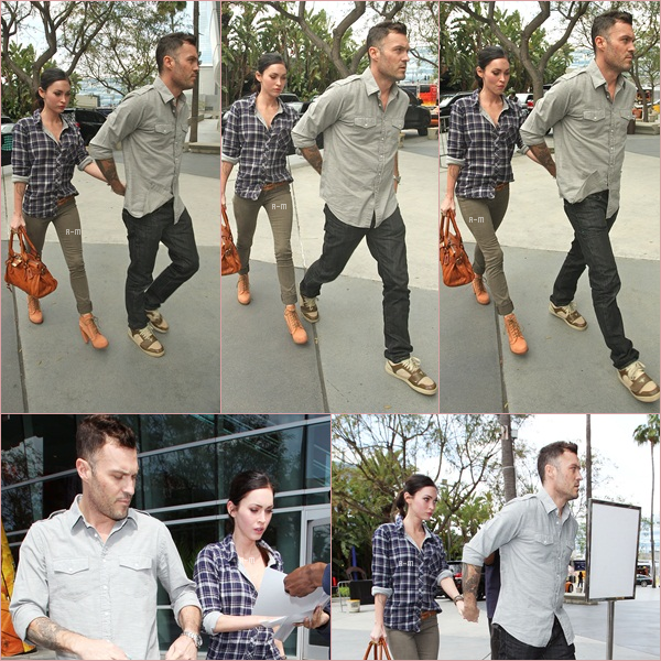 Megan & Brian ont été aperçue en face du Staples Center où elle se rendait voir le match des Lakers VS Nuggets.  J'aime assez sa tenue ♥