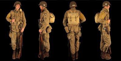 parachutiste américain  avec fusil M1