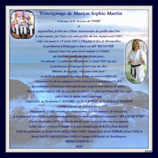 """Marion Sophie MARTIN, 20 Ans de greffée du foie en 15 AVRIL 2017  """"Vivre"""""""