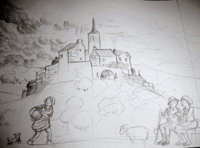promenade dans les contes et légendes (dessin de Flore Balthazar) et pont romain
