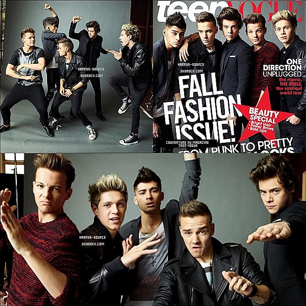 """. Un  beau nouveau photoshoot des 1Dpour le magazine """"Teen Vogue""""ou ils font la couverture. ."""
