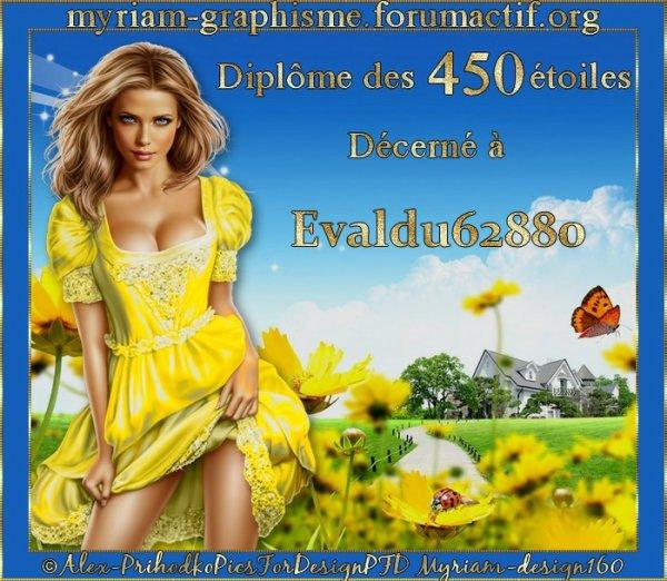 **Merci mon amie Myriam pour ce jolie diplome des 405 etoiles ***