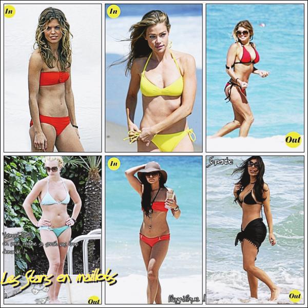 1le maillot de bain corail d'AnnaLynne McCord à la plage ! 2le maillot de bain fluo de Denise Richards à la plage ! 3le maillot de bain rouge de Fergie à la plage ! 4le maillot de bain turquoise de Britney Spears à la plage ! 5le maillot de bain turquoise de Britney Spears à la plage ! 6maillot de bain orange + capeline pour Vanessa Hudgens à la plage  7paréo + maillot de bain pour Kim Kardashian à la plage !