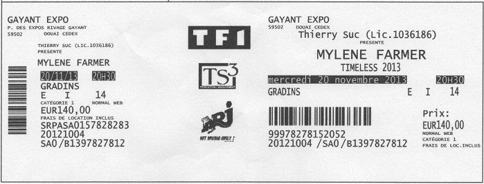 Mon Ticket d'entrée a Douai quelle soirée Merci Mylène.