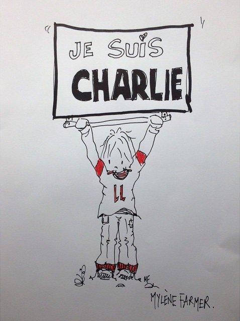 Dessin de Mylène Farmer posté par Polydor France en réaction à l'attentat contre Charlie Hebdo