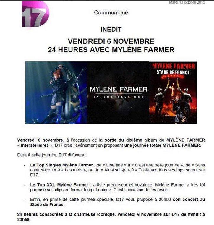 TV 24 heures avec Mylène le 6 novembre ( Communiqué )