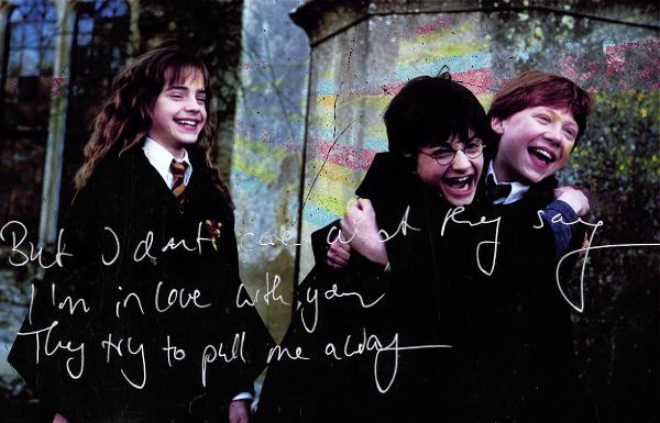 '-Qu'est ce que c'est ? demanda Ron [...] -De la bouillabaisse, répondit Hermione. - A tes souhaits, dit Ron.'