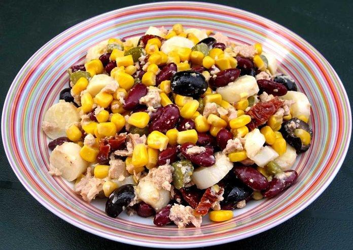 Salade de thon,maïs et haricots rouges