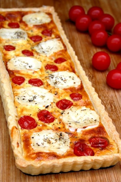 Recette Tarte au fromage de chèvre et tomates cerises