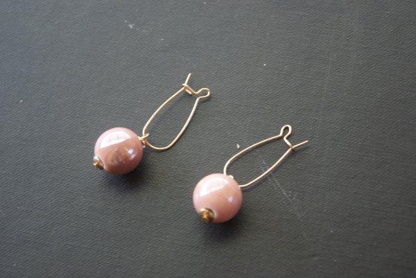 Boucles perle rose 2¤