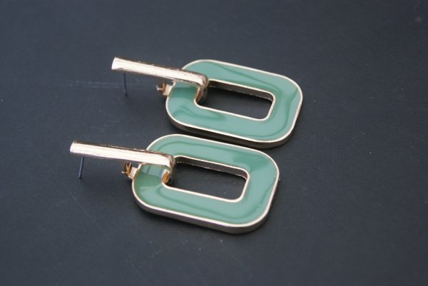 Boucles rectangles verts 2¤