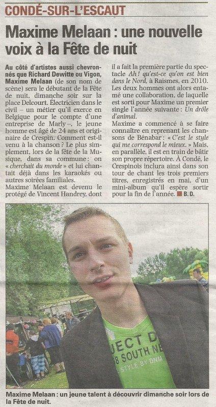 Article paru dans la Voix du Nord du jeudi 20 Juin 2013 pour La Fête de nuit à Condé Sur Escaut le 23 Juin à partir de 18h