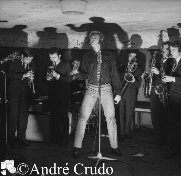 Photo André Crudo  Eddy Vartan à la trompette, et Gérard Pisani au Sax-Ténor C'était au Golf Drouot en 1965