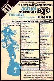 AFFICHE FESTIVAL POP AMOUGIES BELGIQUE OCTOBRE 1969 , C'ETAIT LE TOP  .
