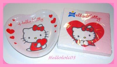 Serviettes et Assiettes en carton Hello Kitty