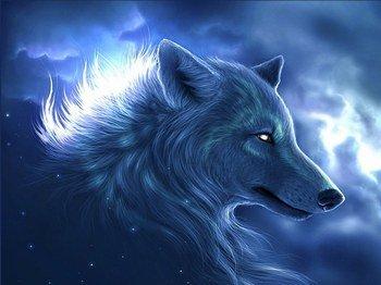 Loup blanc aux crocs ensanglantés
