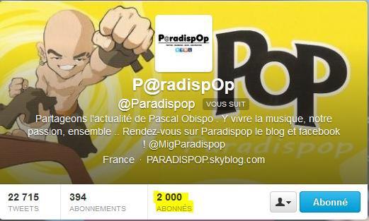 @Paradispop plus de 2 000 abonnés sur TWITTER