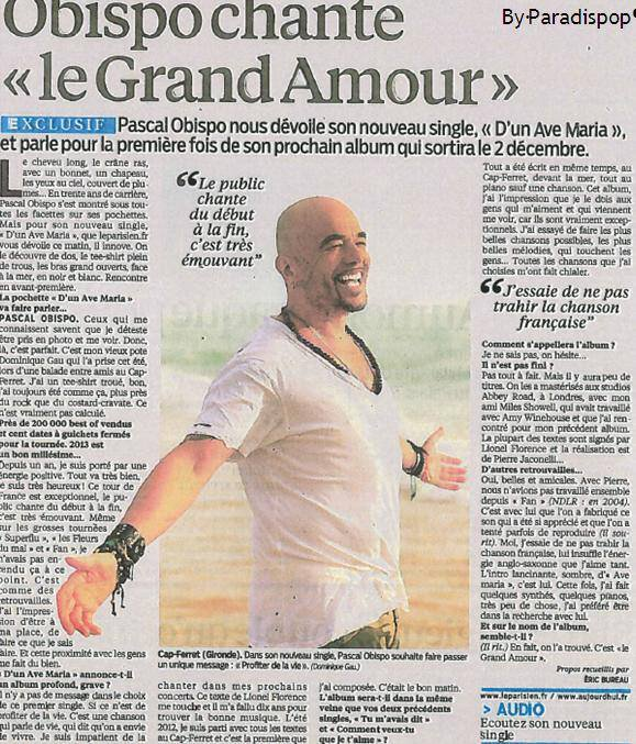 #DunAvéMaria @ObispoPascal on en parle dans la presse, à la radio ... podcasts , articles ...