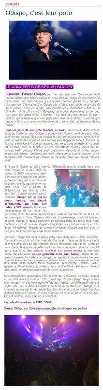 #Biarritz #Arcachon Le Sud Ouest craque pour #MillésimeSTour @ObispoPascal