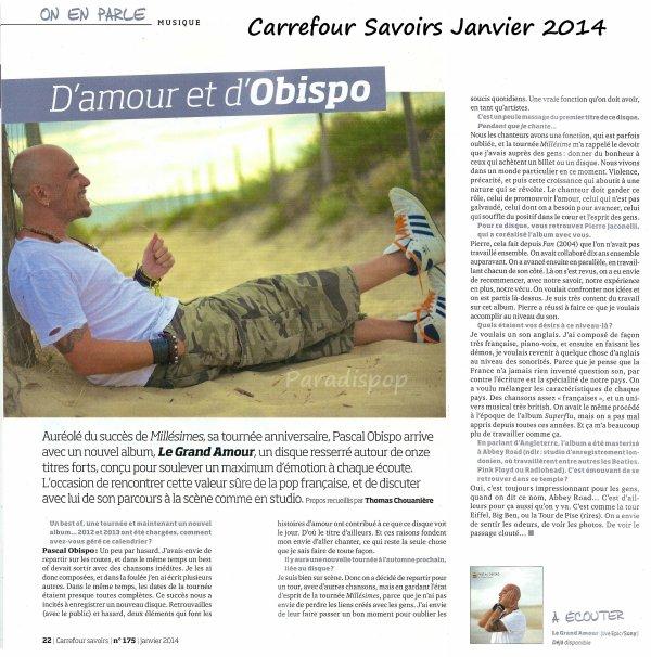 Interviews @ObispoPascal se livre dans #CarrefourSavoir et #ViePratiqueFéminin pour #LeGrandAmour
