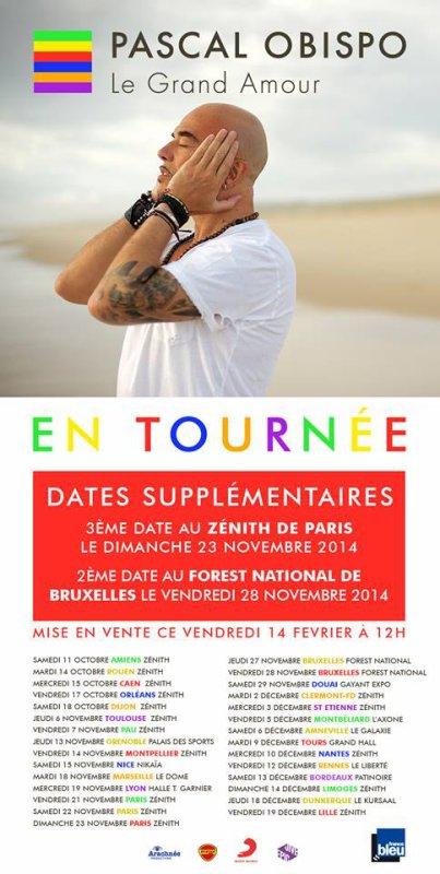 Des nouvelles dates pour #LeGrandAmourTour d' @ObispoPascal