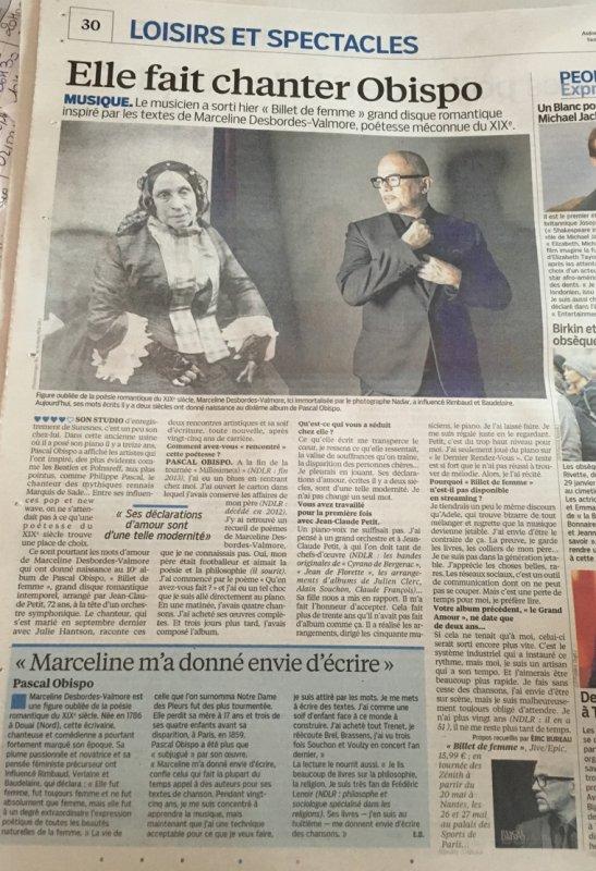 Article Le Parisien sur #BilletDeFemme le nouveau Pascal OBISPO