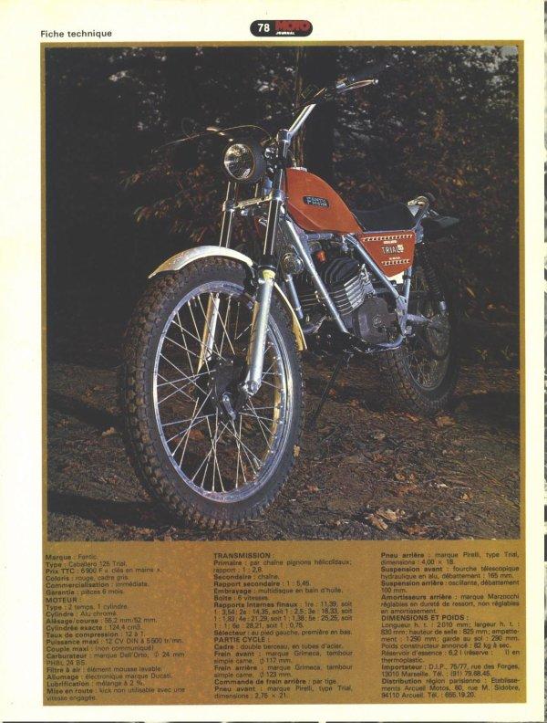 essai fantic 125 trial moto journal 1978 trial en ancienne. Black Bedroom Furniture Sets. Home Design Ideas