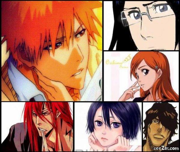 Ichigo , Rukia , Orihime , Ishida , Renji , Chad .