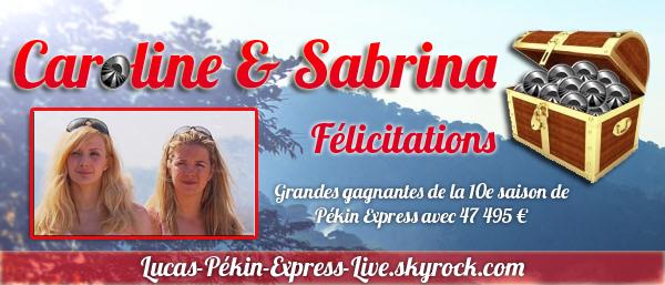 Les gagnantes de Pékin Express saison 10 sont Caroline & Sabrina !!