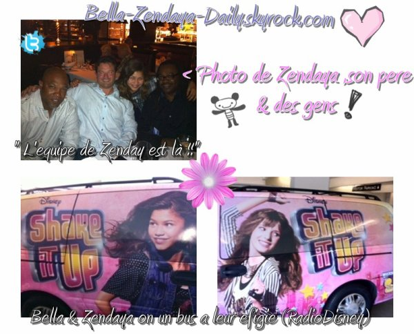 Car shake it up (@Bellathorne143) & (@zendaya96) . With a picture ZENDAYA & Team