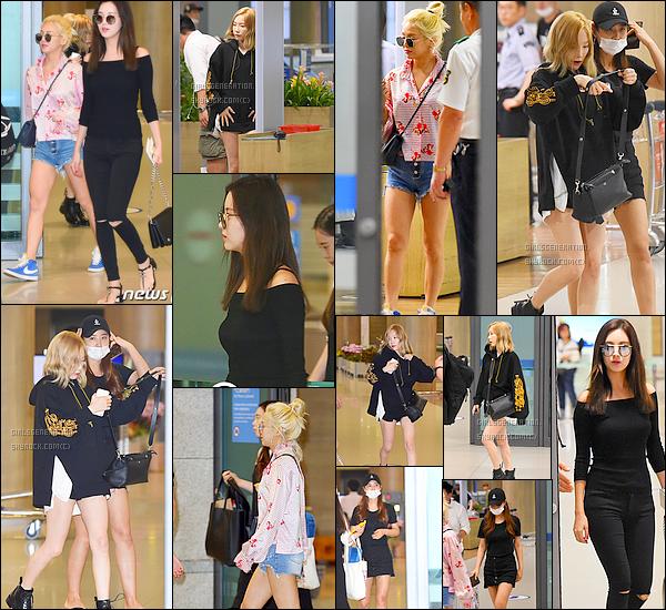 .     01/09/16 - Girls Generation été vus à l'aéroport incheon retour de hawai sans Sunny   comme je l'ai dit , ils sont allés à hawai pour atelier SMTOWN sans tiffany et yoona , yoona ira demain en Espagne alors top ou flop pour les filles les tenus sont simple mais des tops .