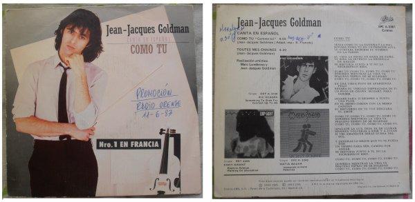 """Rare 45 T """"Como tu"""", la version espagnole de """"Comme toi"""" chantée par Jean-Jacques Goldman - 1983"""