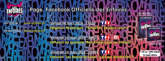 Les Enfoirés nous invitent à leur 25ème anniversaire le Vendredi 14 Mars 2014 à 20h50 sur TF1